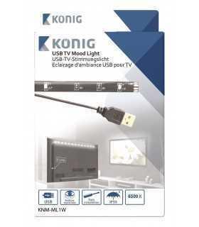 Banda LED USB pentru televizor 90cm 88lm 6500K lumina rece Konig