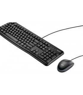 Set tastatura QWERTY multimedia si mouse optic cu fir Logitech