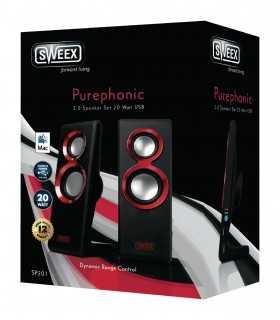 Set 2 difuzoare Purephonic USB 2.0 20W rosu SWEEX