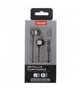 Casti Metallix gri Maxell cablu plat cu microfon