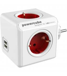 Fisa sub forma de cub 4 cai Schuko si 2x USB rosu Allocacoc