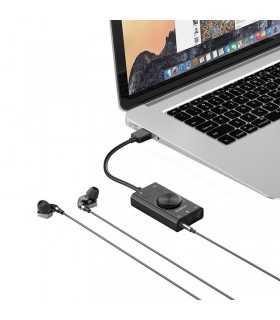 Placa de sunet externa 3.5mm Jack (microfon +2x 3.5mm casti) - USB 2.0 Orico SC2-BK