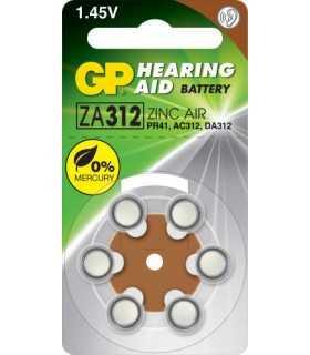 Baterie auditiva ZINC AIR GP ZA312 PR41 AC312 DA312 7.9x3.6mm 1.45V 6buc