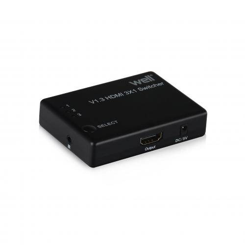 Switch HDMI 3 intrari FullHD V1.3 cu telecomanda Well