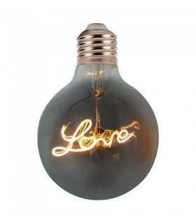 Bec LED G125 E27 5W 70lm cu filament 2200K alb cald model LOVE V-TAC