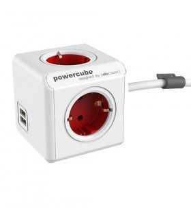 Prelungitor in forma de cub 4 prize 2x USB lungime cablu 1.5m rosu Allocacoc