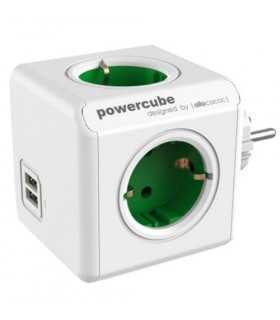 Fisa in forma de cub 4 prize Schuko si 2x USB verde Allocacoc