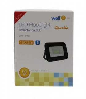 Proiector LED 20W 1600lm IP65 6500K alb rece carcasa aluminiu negru Well