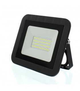 Proiector LED 30W 2400lm IP65 6500K alb rece carcasa aluminiu negru Well