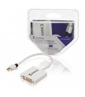 Cablu adaptor Mini DisplayPort - DVI DisplayPort tata - DVI mama 0.2m alb Konig