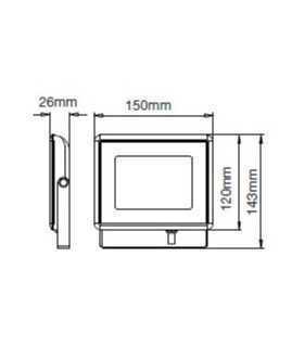Proiector LED 20W SMD 1700lm 6400K alb rece BLACK BODY E-Series IP65 V-TAC