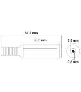 Mufa CC cu protector 5.5x2.5mm