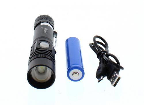 Lanterna T6 LED Well 350lm 200m neagra cu acumulator 18650