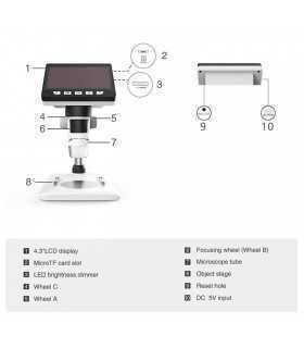 "Microscop Digital 02-BX ecran 4.3"" 2MP marire 1000X"