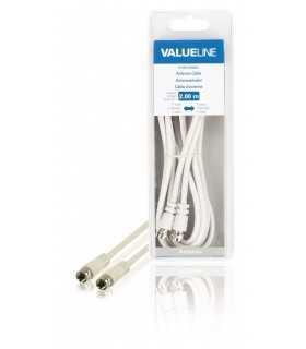Cablu antena F tata - F tata 2m alb VALUELINE
