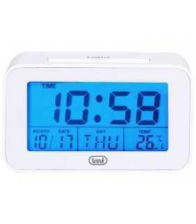 Ceas desteptator cu LCD SLD 3P50 termometru calendar alb Trevi