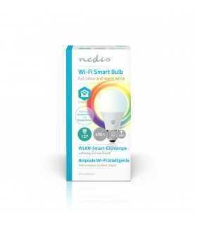 Bec LED Smart WiFi RGB cu lumina alba calda E27 Nedis