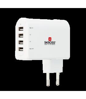 Stecher Skross EU cu 4 porturi USB alb 3x 1A 1x 2.4A