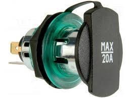 Adaptor mufa mama bricheta auto x1 20A 12?24VDC verde PRO CAR 68140820