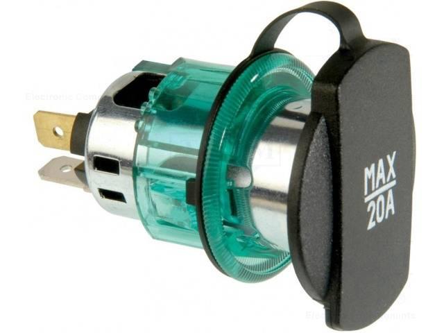 Adaptor mufa mama bricheta auto x1 20A 12?24VDC verde PRO CAR 68140860