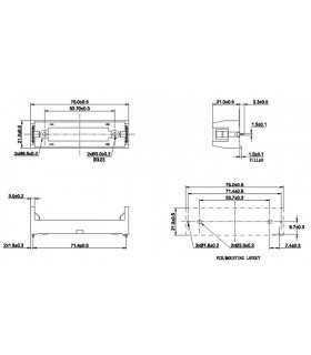 Suport acumulator MR18650 x1buc pentru PCB COMF BHC-18650-1P