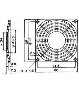 Protectie 80x80mm pentru ventilator Material plastic Fixare cu surub SUNON PB-08