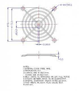 Protectie 80x80mm pentru ventilator Material metal Fixare cu surub negru TQSolution
