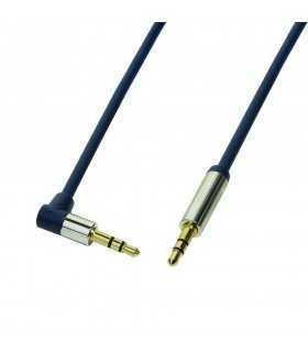 Cablu audio stereo 90 grade Jack 3.5mm 0.3m tata-tata aurit albastru închis carcasa aluminiu LOGILINK CA11030