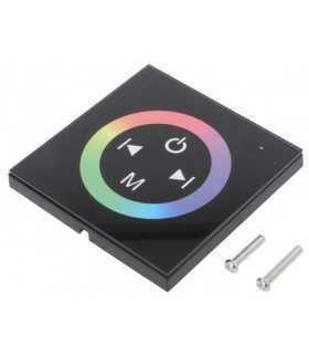 Controler LED Canale 3 12A control iluminare RGB neagra OPTOFLASH CTR-RGB-4A-PANEL-ECO