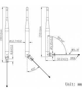 Antena WiFi 5dBi lineare 50Ω 2400÷2483.5MHz tata RP-SMA SR PASSIVES WIFI-ANT410