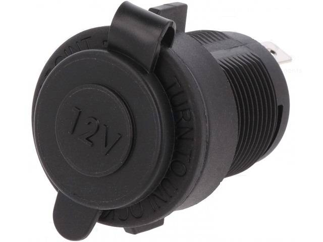 Adaptor mufa mama bricheta auto x1 neagra 20A 12-24VDC SCI A13-142A