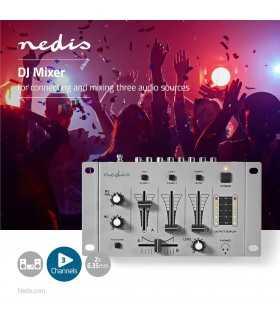 Mixer DJ cu 3 canale STEREO Nedis