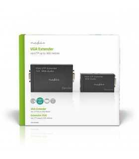 Adaptor prelungitor VGA Full HD +audio prin cablu UTP Nedis