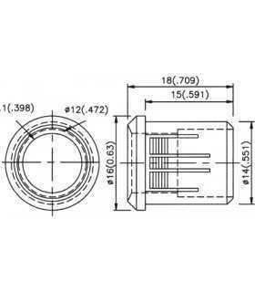 Suport pentru LED 10mm plastic convex KINGBRIGHT ELECTRONIC RTF-1090