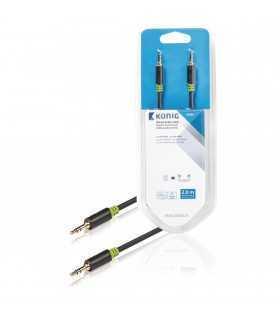 Cablu audio ecranat Jack Stereo 3.5mm tata-tata 2m gri Konig