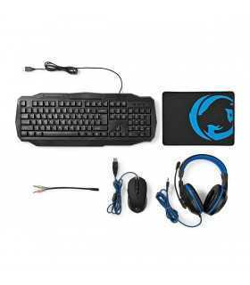 Kit Gaming cu fir 4 in 1 tastatura Casti Mouse MousePad Nedis