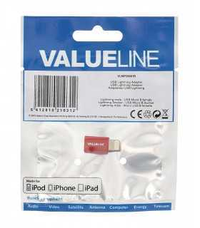 Adaptor iPhone Lightning tata - micro USB mama rosu Valueline