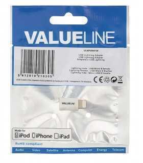 Adaptor iPhone Lightning tata - micro USB mama alb Valueline