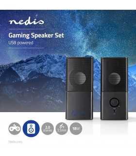 Boxe gaming 2.0 alimentare USB Jack 3.5mm 18W Nedis