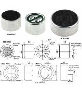 Microfon 9.7x4.5mm 2.2kohm 600uA 1.5/10V Microfon condensator BeStar BCM9745-44