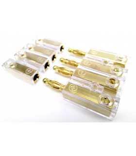 Conector pentru difuzoare 4mm2 aurit mufa/soclu insurubare ACV
