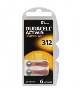 Baterii 312 ZA312 PR41 DURACELL auditive 1.45V ZINC-AIR 6buc
