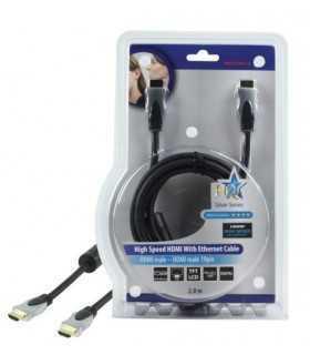 Cablu HDMI - HDMI 2m aurit v1.4 High Speed cu Ethernet HQ