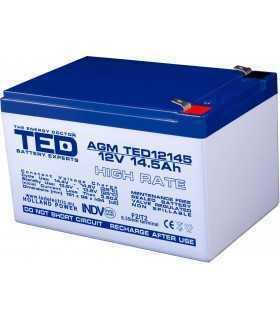Acumulator 12V 14.5A AGM VRLA High Rate 151x98x95mm F2 TED Battery Expert Holland