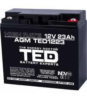 Acumulator 12V 23A AGM VRLA High Rate 181x76x167mm F3 TED Battery Expert Holland