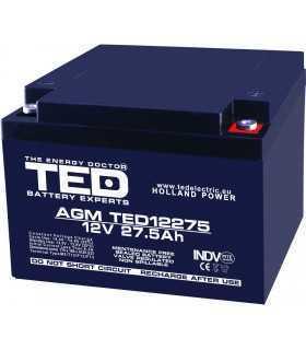 Acumulator 12V 27.5A AGM VRLA 165x175x126mm M5 TED Battery Expert Holland