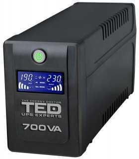 UPS 700VA LCD Display Line Interactive cu stabilizator 2 iesiri Schuko TEDUPS Expert