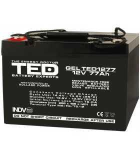 Acumulator AGM VRLA 12V 77A GEL dimensiuni 260x167xh210mm M6 TED Battery Expert