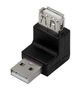 Adaptor USB 2.0 A mufa tata - USB A soclu mama in unghi LOGILINK
