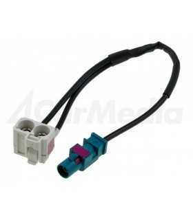Cablu adaptor antena auto Fakra mufa tata - Fakra soclu mama dublu 0.25m Audi RNS-E 4CARMEDIA